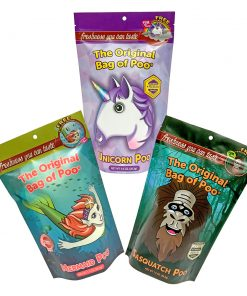 Mythical Variety Pack of Cotton Candy. It includes The Mermaid Poo, Sasquatch Poo and the Unicorn Poo. Each bag of cotton candy has different colors and flavors.